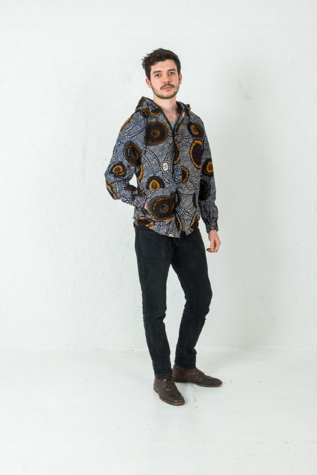 Multi-colour Unisex  Hoodie in African Printed fabric